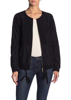 Kensie Lace Panel Zip Front Jacket