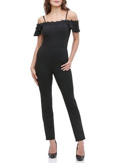 Kensie Lace Trim Cold Shoulder Tailored Jumpsuit