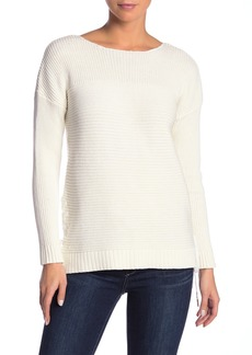 Kensie Lace-Up Rib Knit 3/4 Sleeve Sweater
