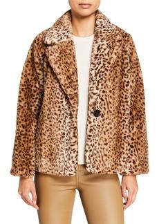 Kensie Leopard Faux-Fur Jacket