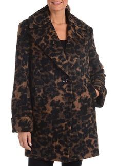 Kensie Leopard-Print Wool-Blend Pea Coat