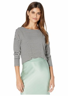 Kensie Lightweight Viscose Spandex Stripe Long Sleeve Top KS9K3822