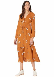Kensie Mid Century Floral Long Sleeve Maxi Dress KSNK8411