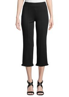 Kensie Mid-Rise Frill-Cuff Capri Pants