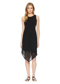 Kensie Mixed Media Knit and Swiss Dot Asymmetrical Hem Dress KS7K8230