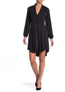 Kensie Mojr Long Sleeve Faux Wrap Dress
