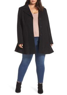 Kensie Notch Lapel Peplum Coat (Plus Size)