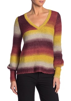 Kensie Ombre Knit V-Neck Sweater