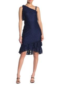 Kensie One Shoulder Ruffled Lace Dress