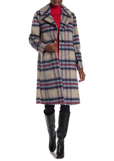 Kensie Plaid Fuzzy Knit Trench Coat