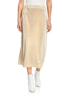 Kensie Pleated Metallic Shine Maxi Skirt