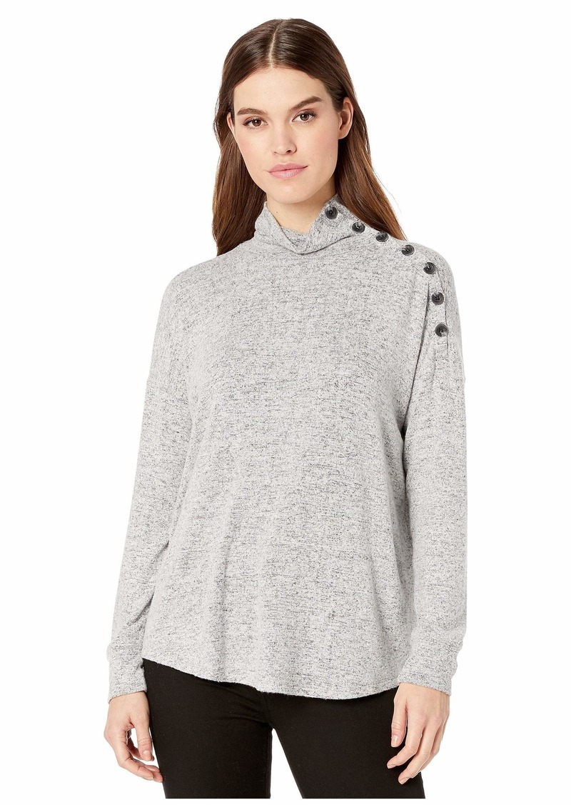 Kensie Plush Touch Long Sleeve Top with Button Shoulder Detail KS1K3841