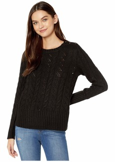 Kensie Punk Yarn Sweater with Shoulder Button Detail KSNK5942