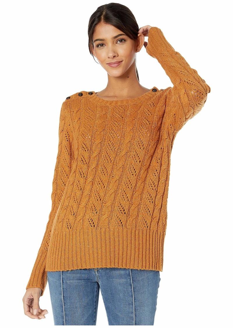 Kensie Punk Yarn Sweater with Shoulder Button Detail KSNK5942