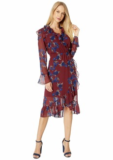 Kensie Rhythm and Blues Floral Long Sleeve Faux Wrap Dress KS9K8395
