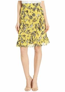 Kensie Romantic Rose Ruffle Front Skirt KS6K6359