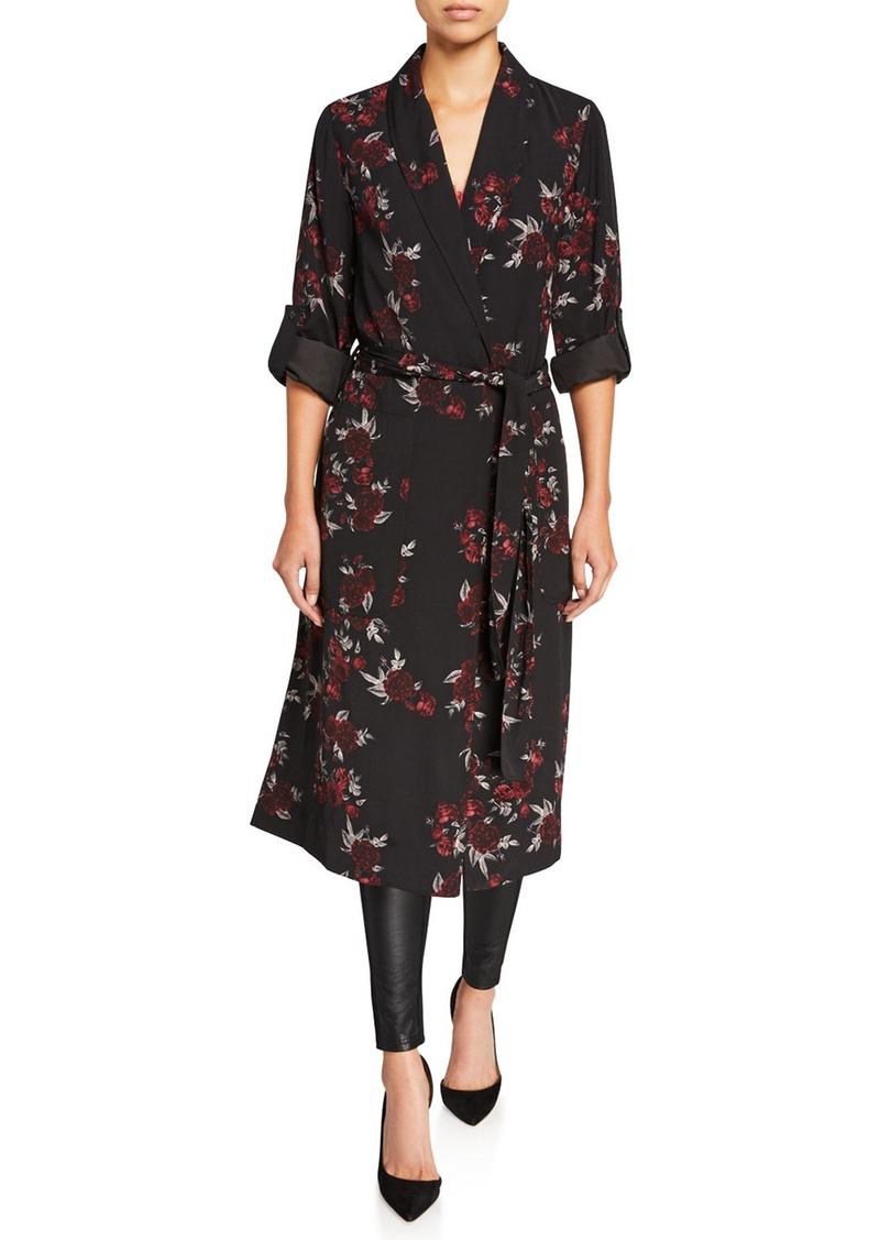 Kensie Rose Noir Floral Trench Coat