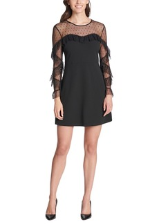 Kensie Ruffled Dot Mesh Long Sleeve Crepe Mini Dress