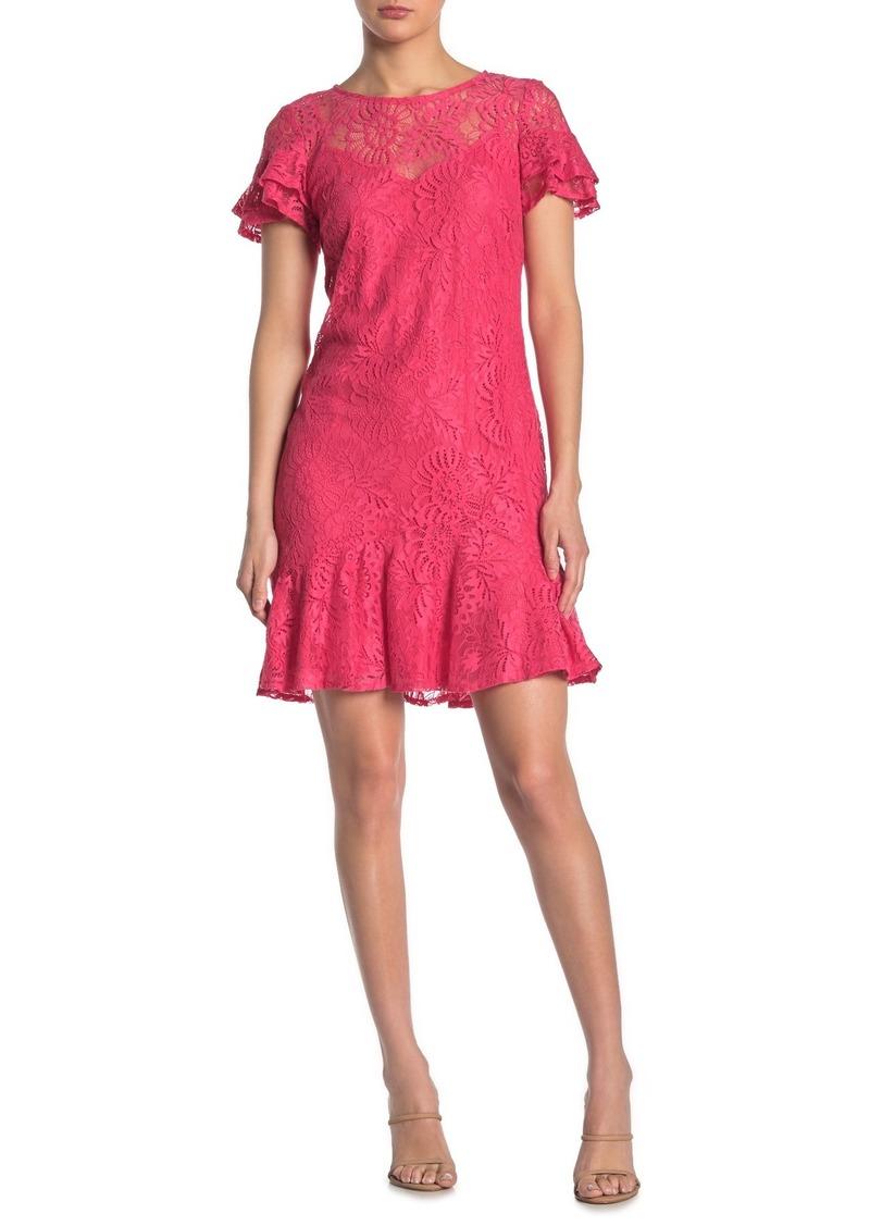 Kensie Ruffled Short Sleeve Lace Dress