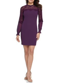Kensie Scalloped Lace Long Sleeve Sheath Dress