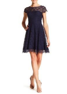 Kensie Lace Back Cutout Fit & Flare Dress
