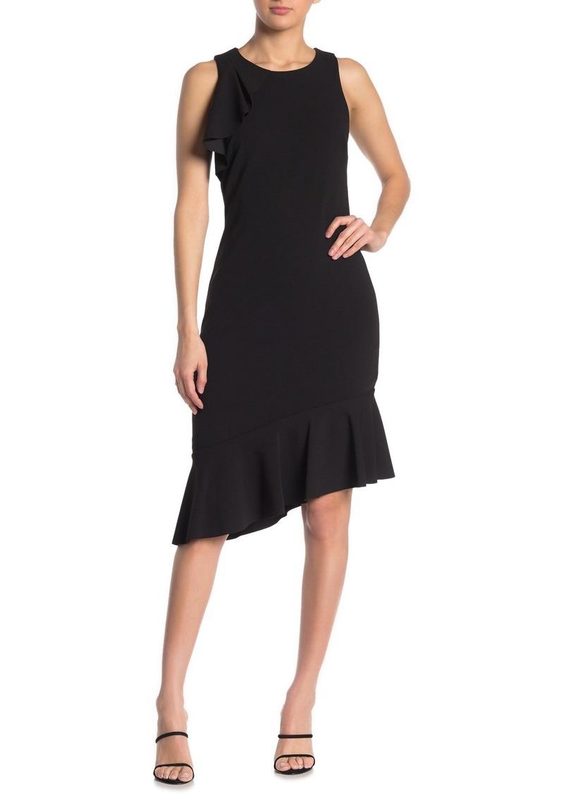 Kensie Solid Sleeveless Ruffled Crepe Midi Dress