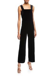 Kensie Square-Neck Plush Velvet Jumpsuit