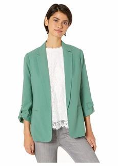 Kensie Stretch Crepe Jacket with Roll Tab Sleeve Detail KS4K2326