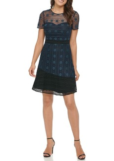 Kensie Two Tone Floral Lace Dress