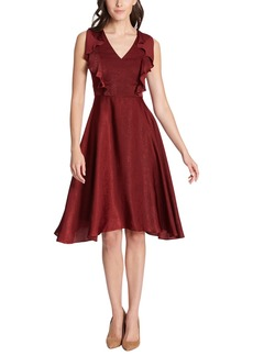 Kensie V-Neck Ruffled Satin A-Line Midi Dress