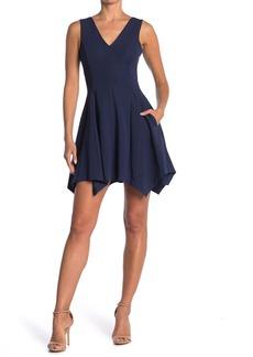 Kensie V-Neck Sleeveless Pocket Skater Dress