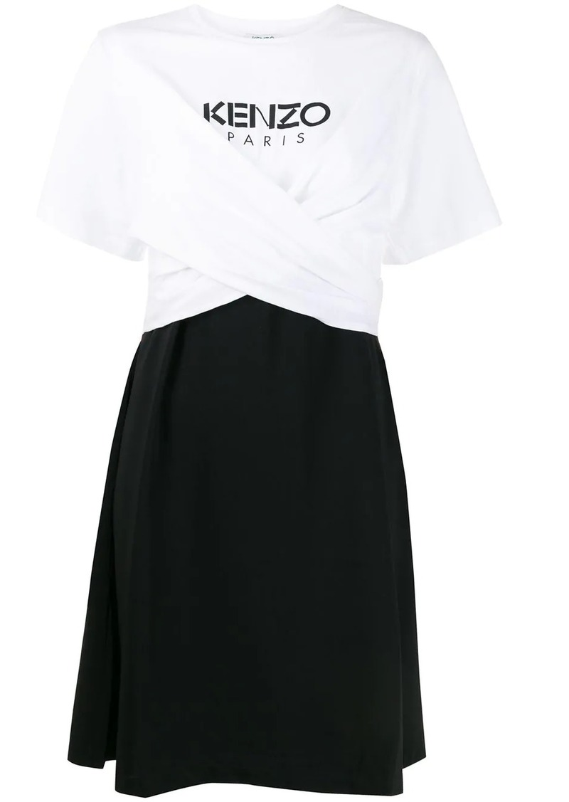 Kenzo gathered front logo dress