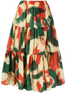 Kenzo abstract-print flared skirt