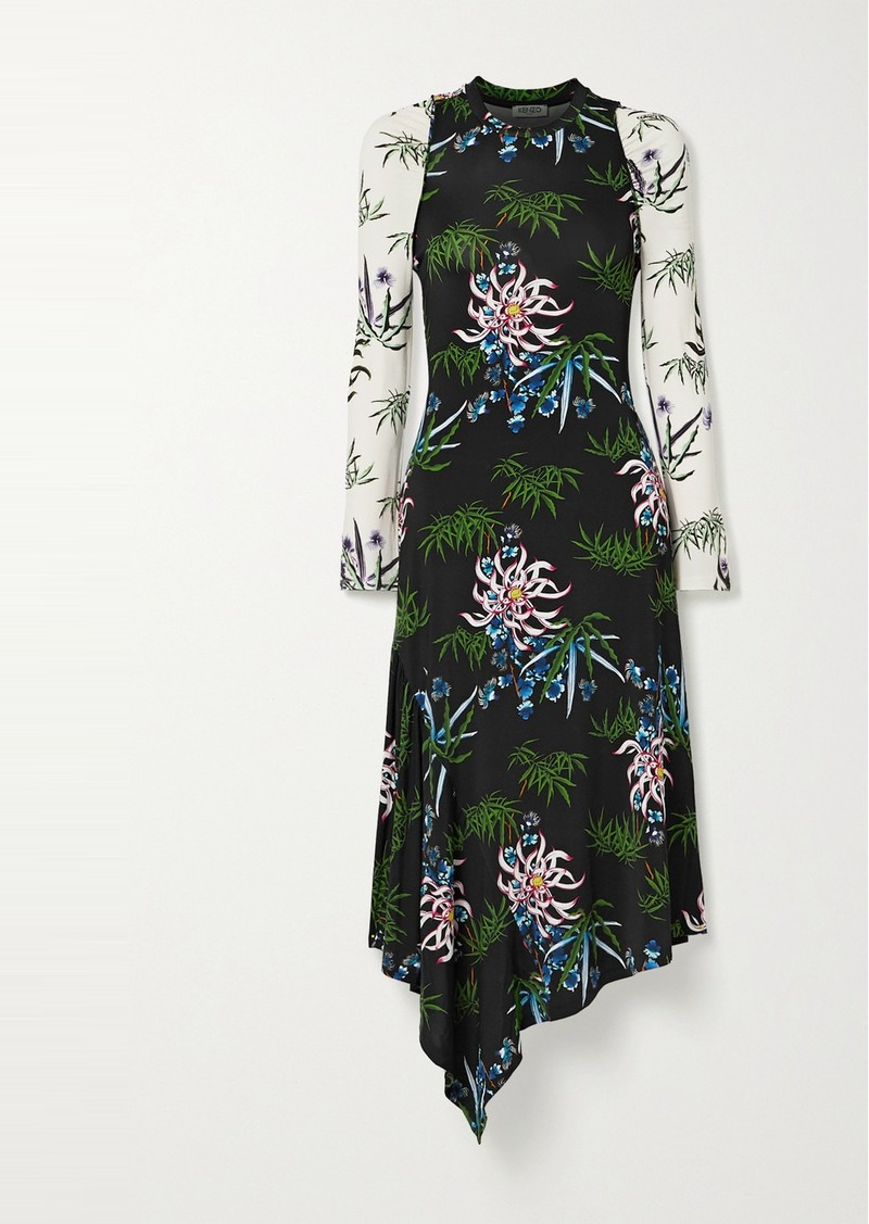 Kenzo Asymmetric Floral-print Stretch-jersey Dress