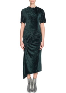 Kenzo Asymmetric Gathered Velvet Midi Dress