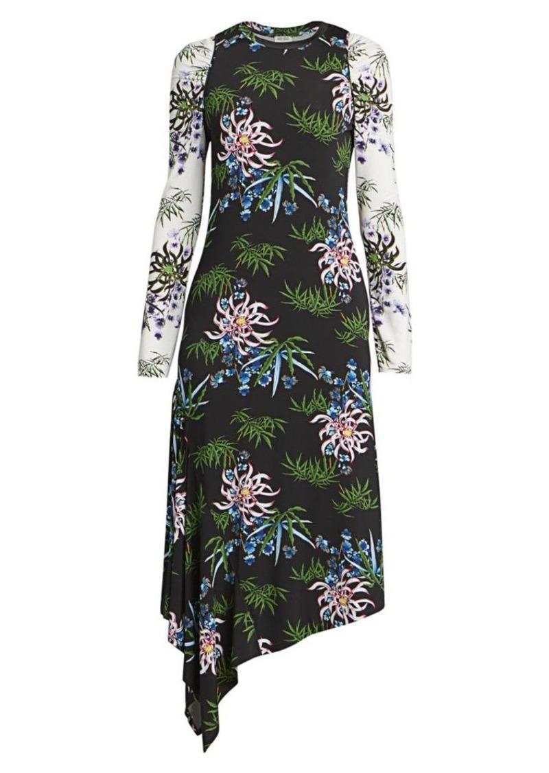 Kenzo Asymmetrical Mixed Print Dress