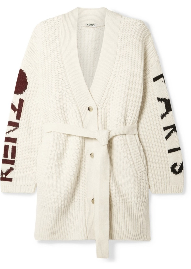 Kenzo Belted Ribbed Intarsia Wool-blend Cardigan