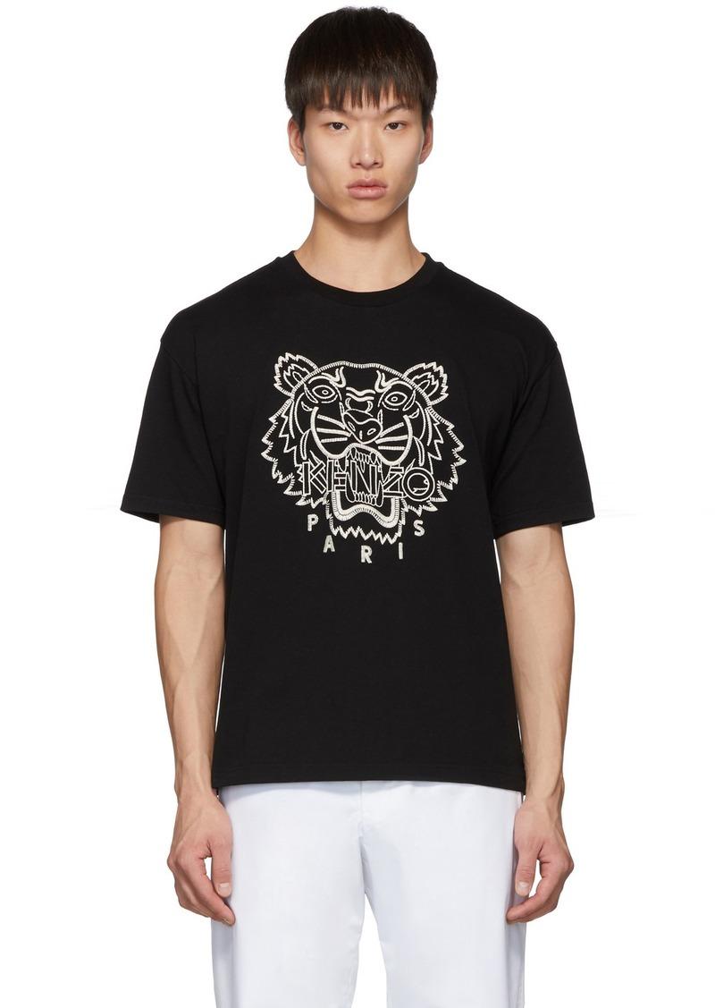 Kenzo Black Blanket Stitch Tiger T-Shirt