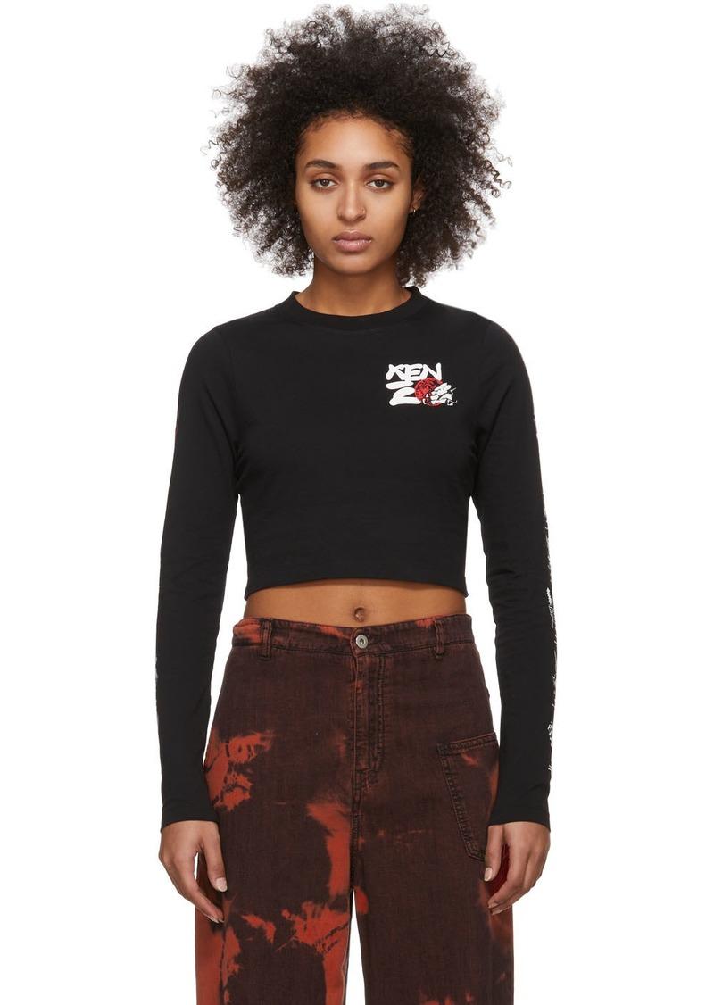 Kenzo Black Cropped Long Sleeve T-Shirt