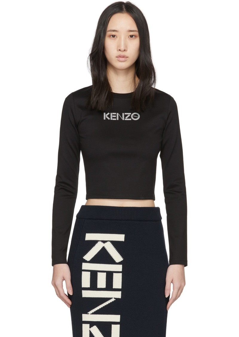 Kenzo Black Cropped Sport Long Sleeve T-Shirt