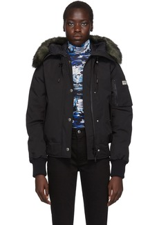 Kenzo Black Down Faux-Fur Hooded Jacket