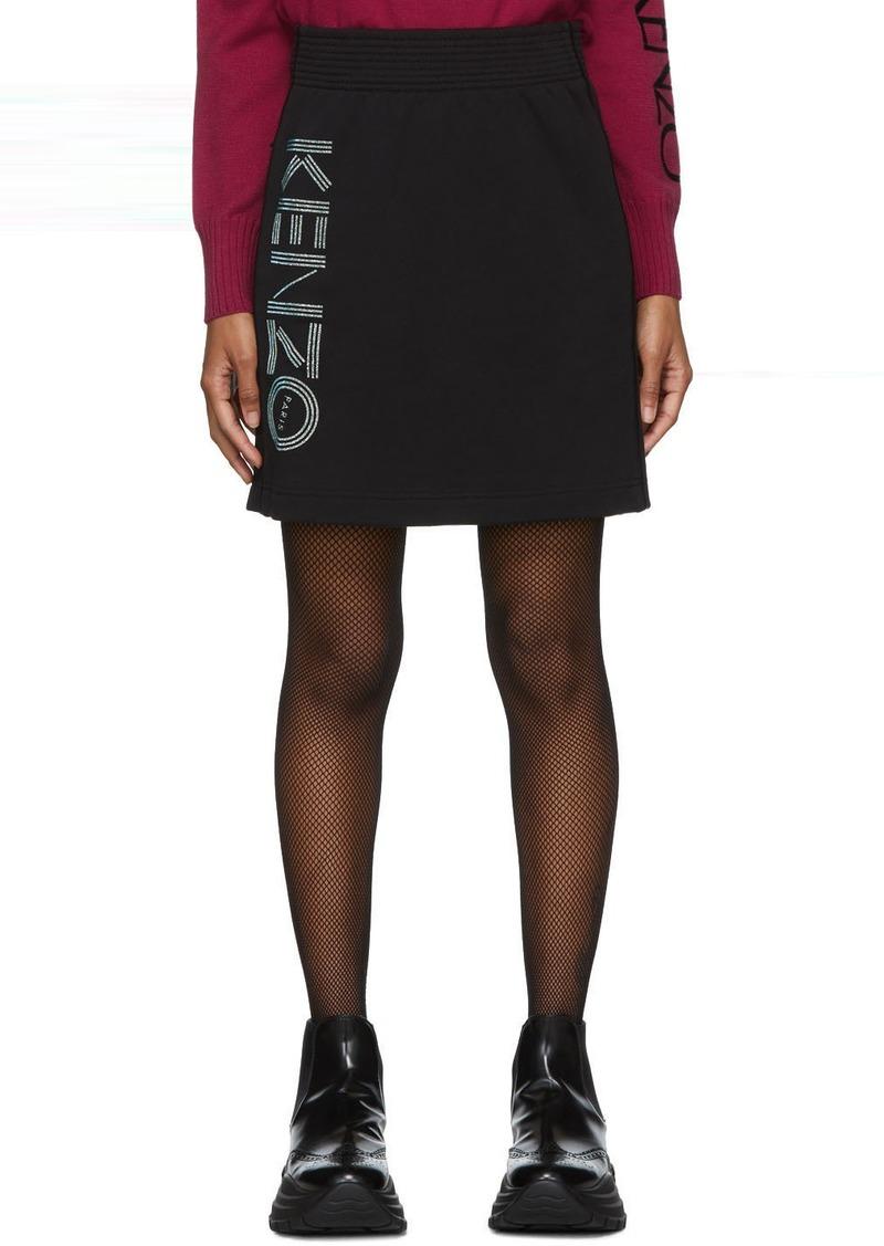 Kenzo Black Glitter Sport Logo Miniskirt