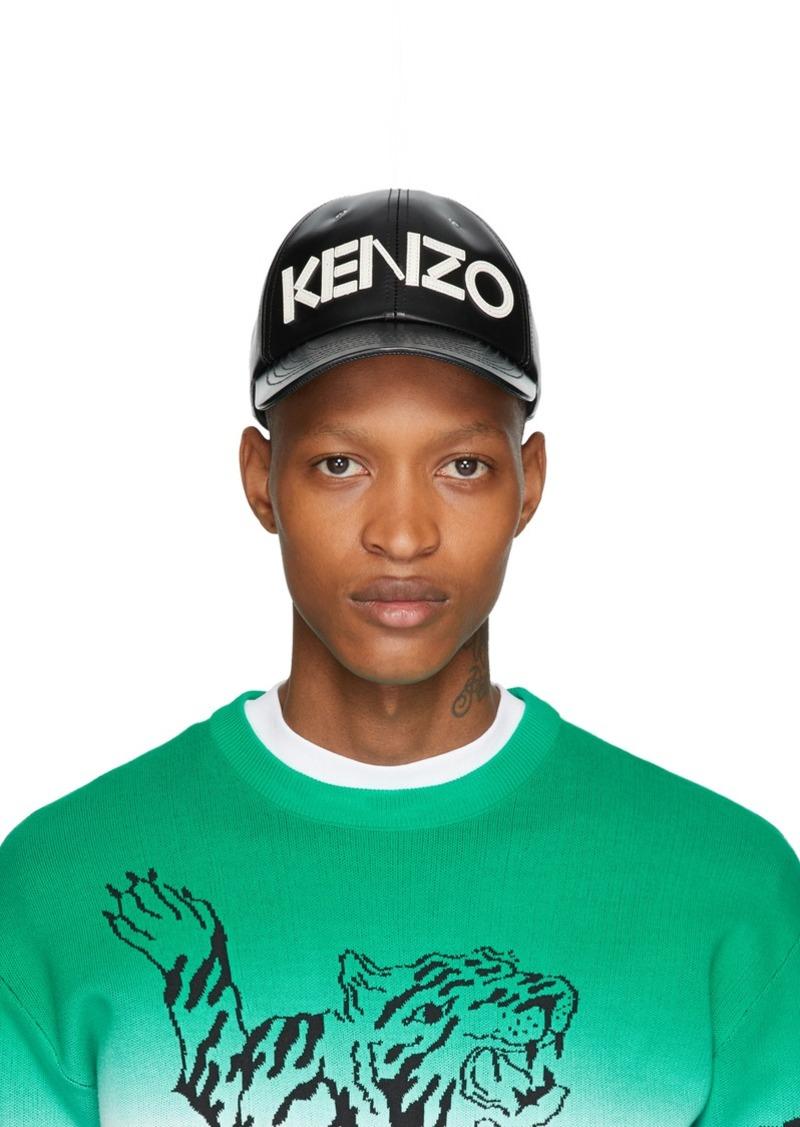 Kenzo Black Leather Logo Cap