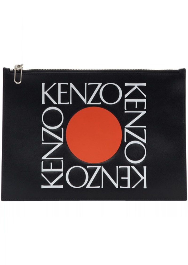 f6a03284 Kenzo Black Leather Square Logo Pouch | Handbags