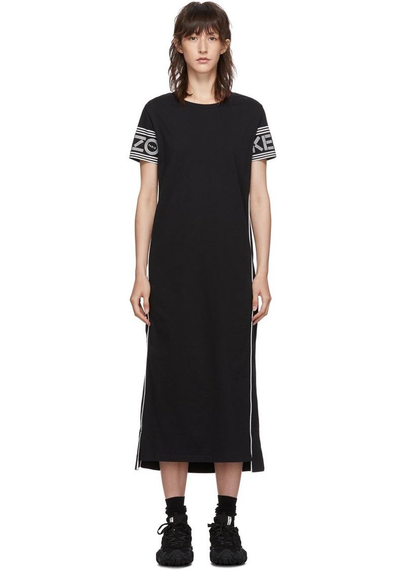 Kenzo Black Long Logo Sport T-Shirt Dress