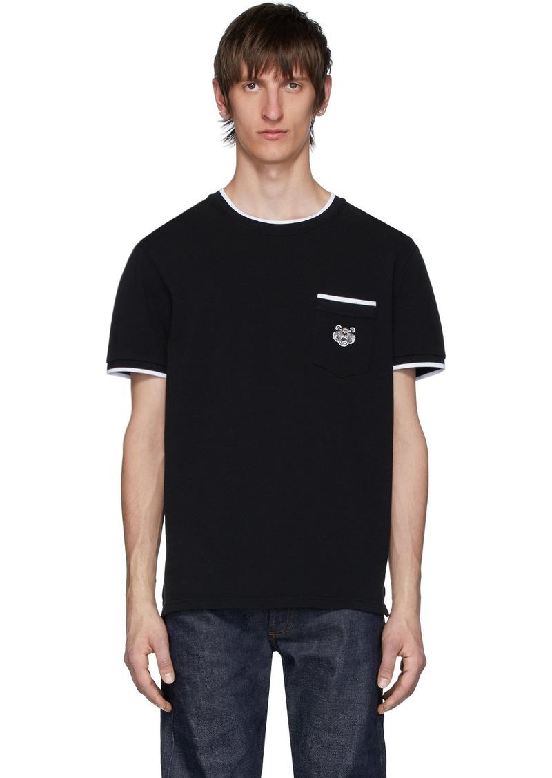 Kenzo Black Piqué Tiger Crest Pocket T-Shirt