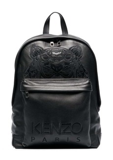 Kenzo black tiger logo embroidered leather backpack