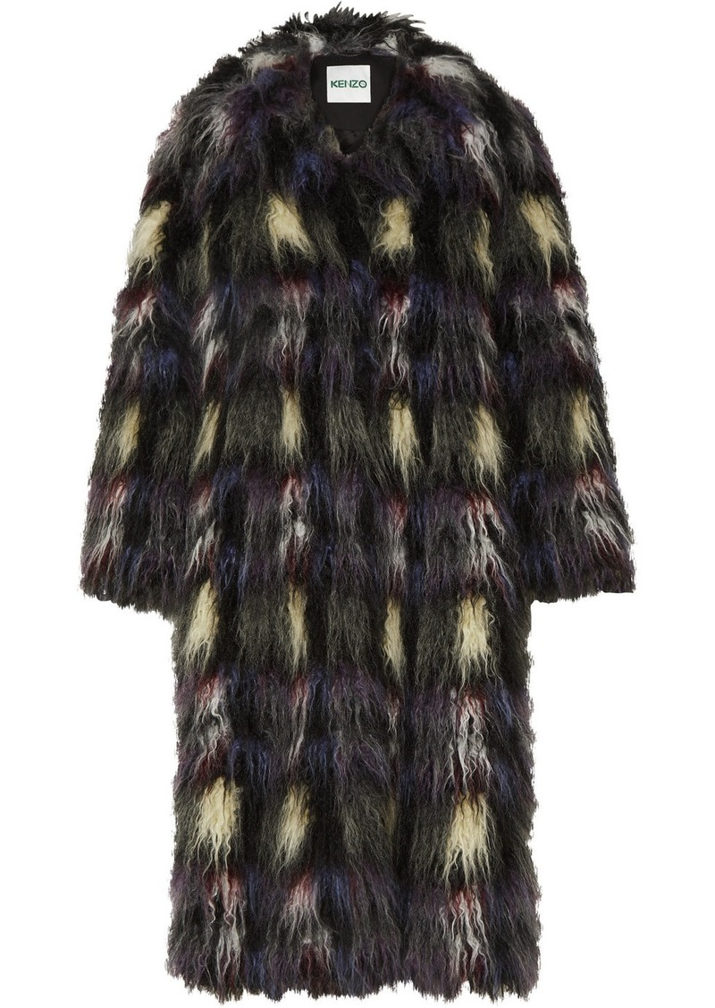 Kenzo Blanket Check Faux Fur Coat