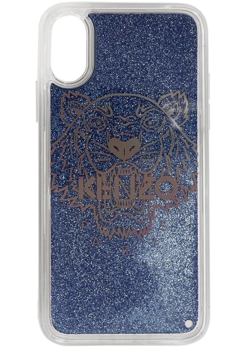 Kenzo Blue Glitter Tiger Head iPhone X/XS Case