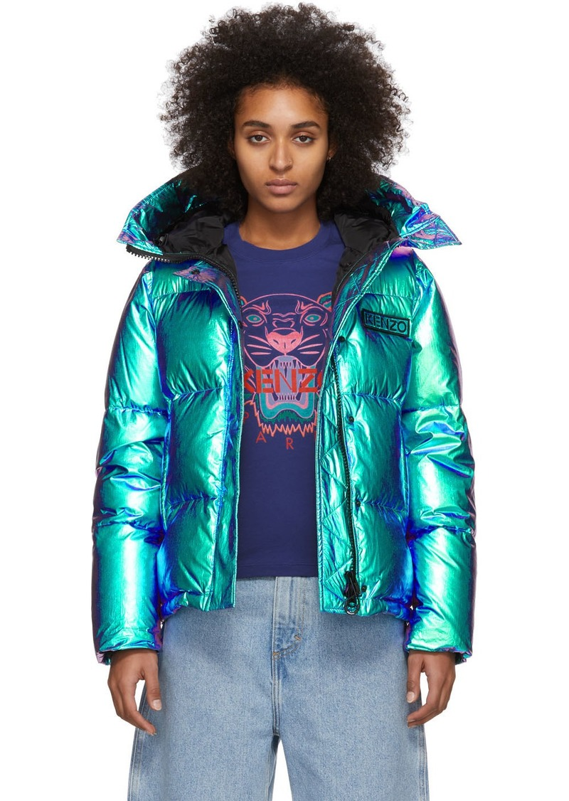 Kenzo Blue Limited Edition Holiday Down Hooded Quilted Jacket